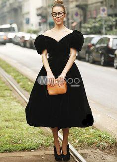 $160 cute Princess Silhouette Black Velvet Puff Sleeve Tea-Length Celebrity Dress - Milanoo.com