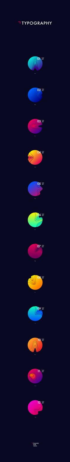 Exercise of typography inspired planets created based on circles and gradients.