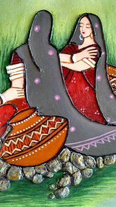 Madhubani Art, Madhubani Painting, Worli Painting, Fabric Painting, Art Sketches, Art Drawings, Clay Wall Art, Clay Art Projects, Indian Art Paintings
