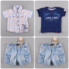 Camisa de cuadros 4,50€   Camiseta manga corta 5,25€     Pantalón vaquero corto 6,75€ http://www.quiquilo.es/36-6-meses