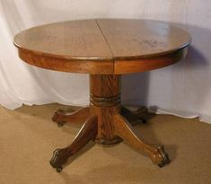 Antique Round Oak Claw Foot Dining Table Feet Leaves From - Claw foot dining room table