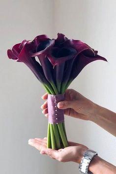 Small Wedding Bouquets, Lily Bouquet Wedding, Calla Lily Bouquet, Blush Wedding Flowers, Hand Bouquet, Floral Wedding, Black Calla Lily, Burgundy Wedding, Blue Wedding