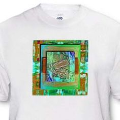 Abstract art on green and gold textured squares with layers T-Shirt