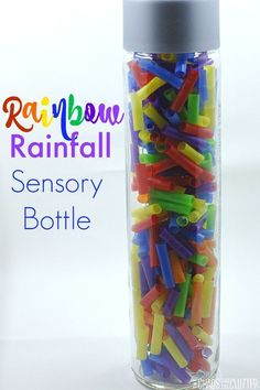 Rainbow Rainfall Sensory Bottle - This discovery bottle is cheerful to look at and fun to listen to as clear beads cascade through it. Sensory Tubs, Sensory Boxes, Baby Sensory, Sensory Activities, Infant Activities, Sensory Play, Activities For Kids, Rainforest Activities, Calming Activities