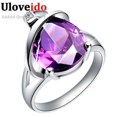 Find More Rings Information about Silver Ring CZ Zircon Wholesale Trendy Purple/Red Water Drop Crystal Stone Size 6 7 8 9# Wedding Gifts J083,High Quality gift presentation,China stone fabric Suppliers, Cheap gift mug from ULOVE No.2 Fashion Jewelry Store  on Aliexpress.com