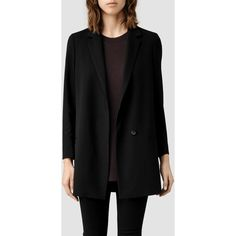 AllSaints Ettie Blazer (€185) ❤ liked on Polyvore featuring outerwear, jackets, blazers, eleanor, emma underwood, black, lined jacket, allsaints, short-sleeve blazers and boyfriend blazer