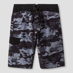 Boys' Camo Palm Boardshort Black 16 - NO Fear, Black Gray