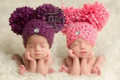 Newborn Baby Girl Hat Pom Pom Hat Chunky Photography Prop Knit Crochet Beanie Photo Prop Infant Girl Hat Purple Chic Flapper Style. $30.00, via Etsy.