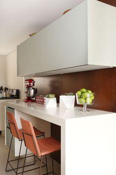 Decoração, Decoração de apartamento, luz natural, ambiente integrado, revestimento, cozinha.