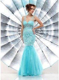 V Neck Brush Train Blue Tulle Trumpet Mermaid Prom Dress