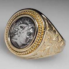 Antique Silver Token Mens Ring in 14K Gold