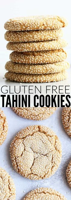 These gluten free Tahini Cookies are such a fun surprise! They are so soft and chewy and insanely delicious! They're my new favorite cookie! Best Gluten Free Cookie Recipe, Gluten Free Cakes, Gluten Free Desserts, Cookie Desserts, Healthy Desserts, Dessert Recipes, Tasty Snacks, Healthy Breakfasts, Healthy Food