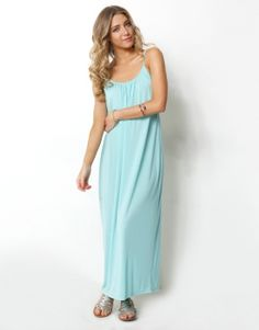 STRAPPY GATHERED NECK MAXI DRESS - STRAPPY GATHERED NECK LOOSE FIT MAXI DRESS - Casual Dresses