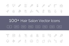 100+ Hair Salon Vector Icons by Creative Stall on Creative Market