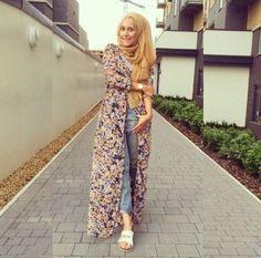 long floral cardigan hijab
