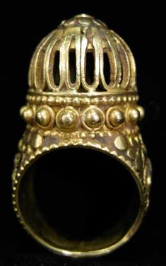 Ottoman Gold Ring with Applied Decoration - OS.173 Origin: Turkey Circa: 16 th Century AD to 19 th Century AD