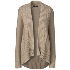 Lands' End Women's Petite Cable Cardigan Sweater - Drifter ($69) ❤ liked on Polyvore featuring tops, cardigans, jackets, sweaters, outerwear, tan, petite cardigans, cardigan top, tan top and brown cardigan