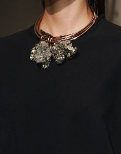 Copper & rock crystal necklace - statement jewellery, fashion details // Cedric Charlier S/S 2015 #creative