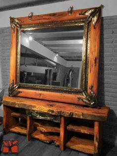Nativo Redwood.  Espejo con marco de Roble rústico con marco interior de fierro forjado y cristal espejo color bronce. Dimension: 1.50x1.80  Valor: $520.000  A pedido en Av. Camilo Henriquez 3941, Puente Alto. Fono: +56 9 62277920 nativoredwood@gmail.com www.nativoredwood.com  Facebook: /nativoredwood  Pinterest: /nativoredwood  Instagram y Twitter: @NativoRedWood Google +: /nativoredwood