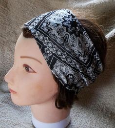 STRETCH KNIT SOFT JERSEy Black Bandana Print Womens Teen Headband by silcoon52…