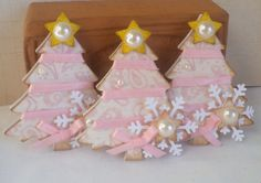 Christmas Tree Tag Embellishments.  Pink by KindrasCreations