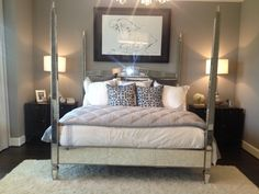 Shaddock Model Home Master Bedroom: Frisco, TX  Love this bed
