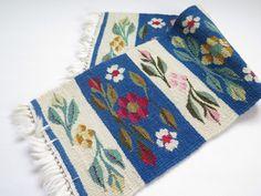 Vintage Handmade Woven Decor Blue Red by vintageTEXTILESdecor