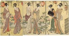 Chôbunsai Eishi (Japanese, 1756–1829)/ Women Admiring Peonies under a Wisteria Trellis | Museum of Fine Arts, Boston