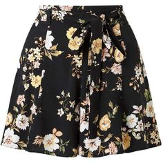 Miss Selfridge Dark Floral Tie Waist Short (82 BRL) ❤ liked on Polyvore featuring shorts, skirts, bottoms, short, pants, assorted, tie waist shorts, rayon shorts, floral printed shorts and floral shorts