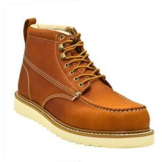 Golden Fox Men's Premium Leather Soft Toe Light Weight Industrial Construction Moc Work Boots Insulated ** Want to know more, click on the image.