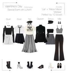 """""""Lunar (루나) Valentine's Day Special Event"""" by lunar-official ❤ liked on Polyvore featuring Moschino, Thom Browne, ADAM, MM6 Maison Margiela, Yeezy by Kanye West, IRO, Sea, New York, Forever 21, Gucci and MSGM"""