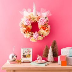 Make Your Dreams Come True With This DIY Floral Unicorn Christmas Wreath | Brit + Co
