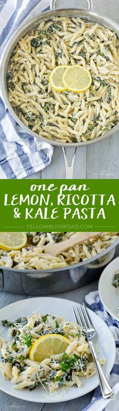 One Pan Lemon, Ricotta and Kale Pasta - Rich and creamy one pan vegetarian meal