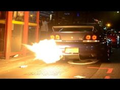 FLAMING Nissan Skyline GTR in central London!