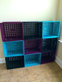 Milk Crate storage cabinet held together with zip ties - 40 Nifty Ways To Use Zip Ties At Home Milk Crate Shelves, Milk Crate Storage, Cubby Storage, Crate Shelving, Milk Crate Furniture, Plastic Milk Crates, Plastic Containers, Kids Room Shelves, Diy Recycling
