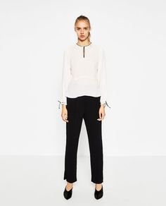 BLOUSE WITH CONTRAST PIPING-View all-TOPS-WOMAN | ZARA United States