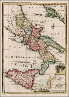 A New & Accurate Map of the Kingdoms of Italy & Sicily
