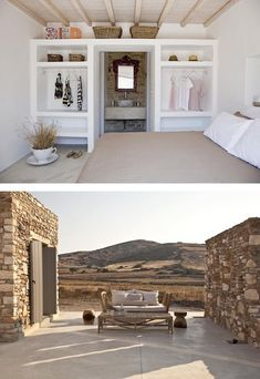 This villa on the Greek island of Antiparos is a former stone ruin that has been converted into a stylish two bedroom summer home. It is surrounded by two acres of land which gives a lot of privacy. Villa Design, Design Hotel, Restaurant Design, Conception Villa, Interior And Exterior, Interior Design, Greek House, Stone Houses, Beautiful Homes