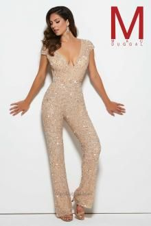 Feel enchanting with the Spring 2016 Mac Duggal Prom Dress Collections.   Low V-neck, cap sleeve, beige, beaded, non-traditional jumpsuit.  Style 4378M