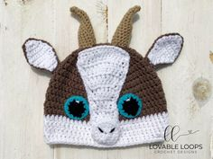 You'll love this adorable & free baby goat hat crochet pattern! The crochet pattern is written for sizes months through adult. Crochet Animal Hats, Crochet Kids Hats, Crochet Beanie Hat, Crochet Crafts, Crocheted Hats, Booties Crochet, Beanie Pattern, Crochet Baby Hat Patterns, Baby Patterns