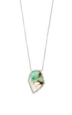 One Of A Kind Emerald Slice And Diamond Pendant by Kimberly McDonald for Preorder on Moda Operandi