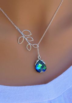 Peacock Aqua Sphinx and Branch sterling silver by RoyalGoldGifts, $32.00