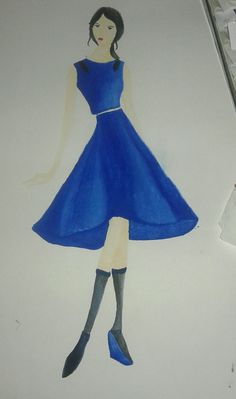 2nd. The second design for the same task. The part of this design are a crop tee outfit and full round skirt. The fabric that use is satin ^^ #fashiondesign #velvet