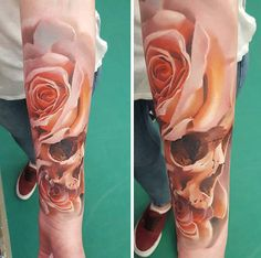 Rose with skull sleeve tattoo - 100+ Meaningful Rose Tattoo Designs