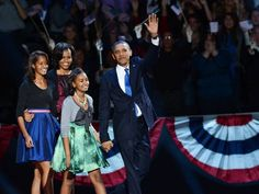 President Obama and family on election night