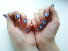 Scottish flag nail art!