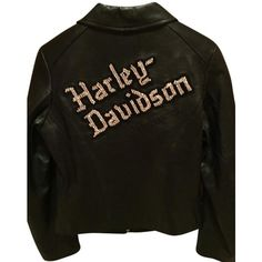 Pre-owned Harley Davidson Studded Diamond Embellished Leather... (3,120 EGP) ❤ liked on Polyvore featuring outerwear, jackets, black, leather motorcycle jacket, studded jacket, evening jackets, studded biker jacket and harley davidson jackets