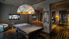 Kimpton Gray Hotel Pool Table, designed by Beleco, Los Angeles Chicago Hotels, Small Luxury Hotels, Luxury Pools, Pool Table Room, Pool Tables, Function Room, Hotel Pool, Billiard Room, Attic Remodel