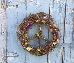 Spring Peace sign grapevine and dried flower Earth day wreath. Free shipping.