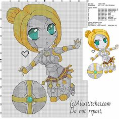Chibi robot Orianna League of Legends free videogames cross stitch pattern 100x135 10 colors